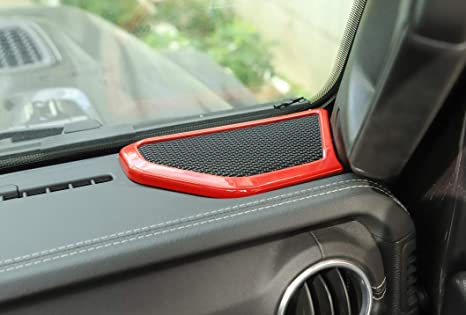 Car ABS Dashboard Speaker Audio Cover Dash Cover Replacement Speaker for Jeep Wrangler JL 2018-2020 and Gladiator JT 2020 Hgcar Jeep JL Red Dash Cover