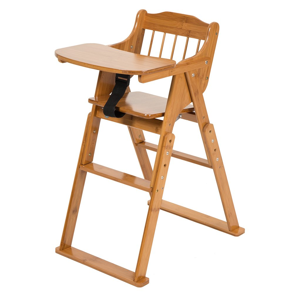 ELENKER Wooden High Chair with Tray, Modern Baby Dinning Chair with 3 Gear Adjustable Height and Foldable, Perfect Feeding Highchairs Solution for Babies and Toddlers