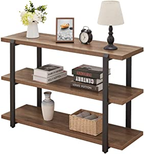 FOLUBAN Industrial Console Sofa Table, Rustic Entryway/Hallway Table with 3-Tier Open Shelf for Living Room, Oak