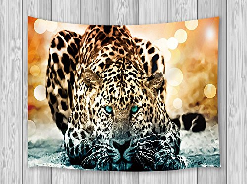 Wild Animals Wall (Wild Animal Home Decor Leopard Tapestry Wall Hanging for Bedroom Living Room Dorm 71 X 60 Inches)