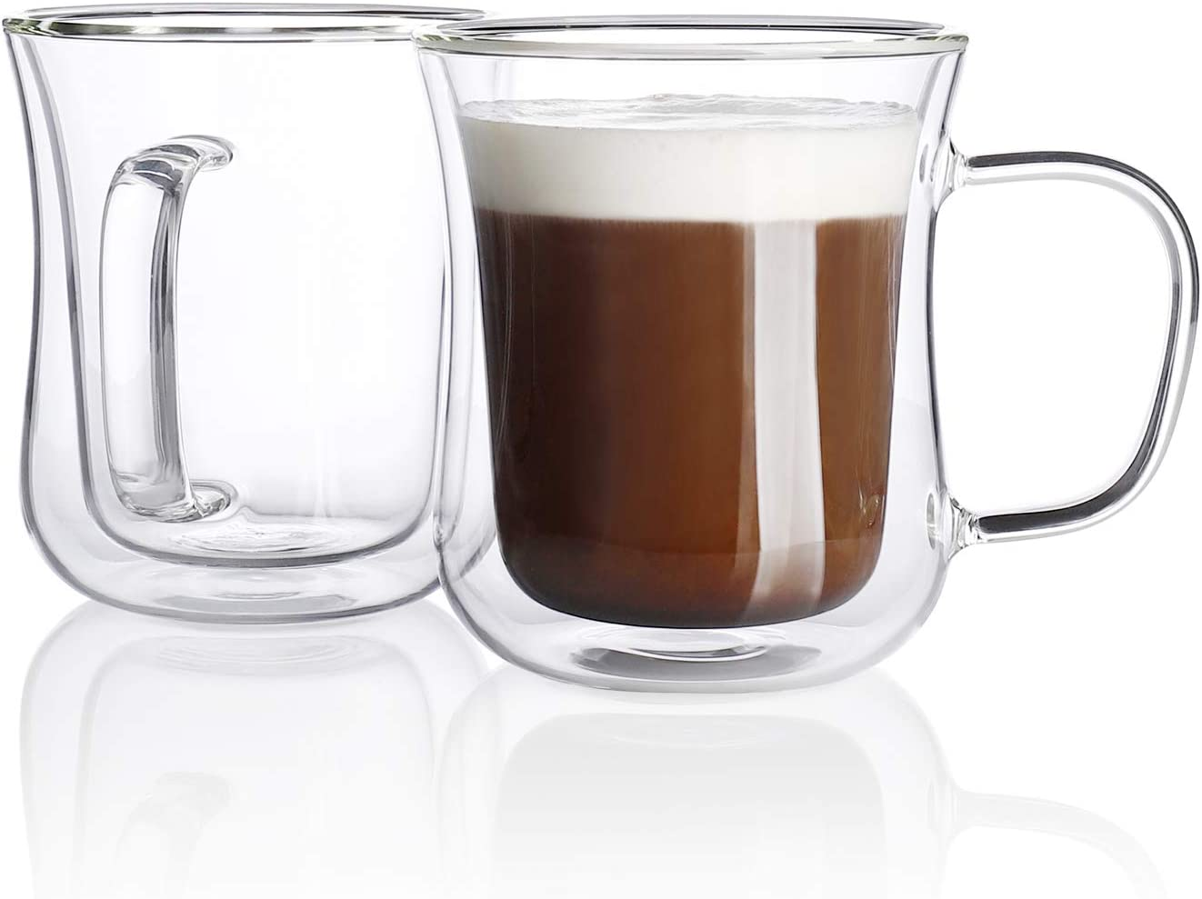 Sweese 420.101 Double Wall Espresso Cups Glass Coffee Cups Insulated Cups for Tea Latte Cappuccino Espresso (7.5oz)