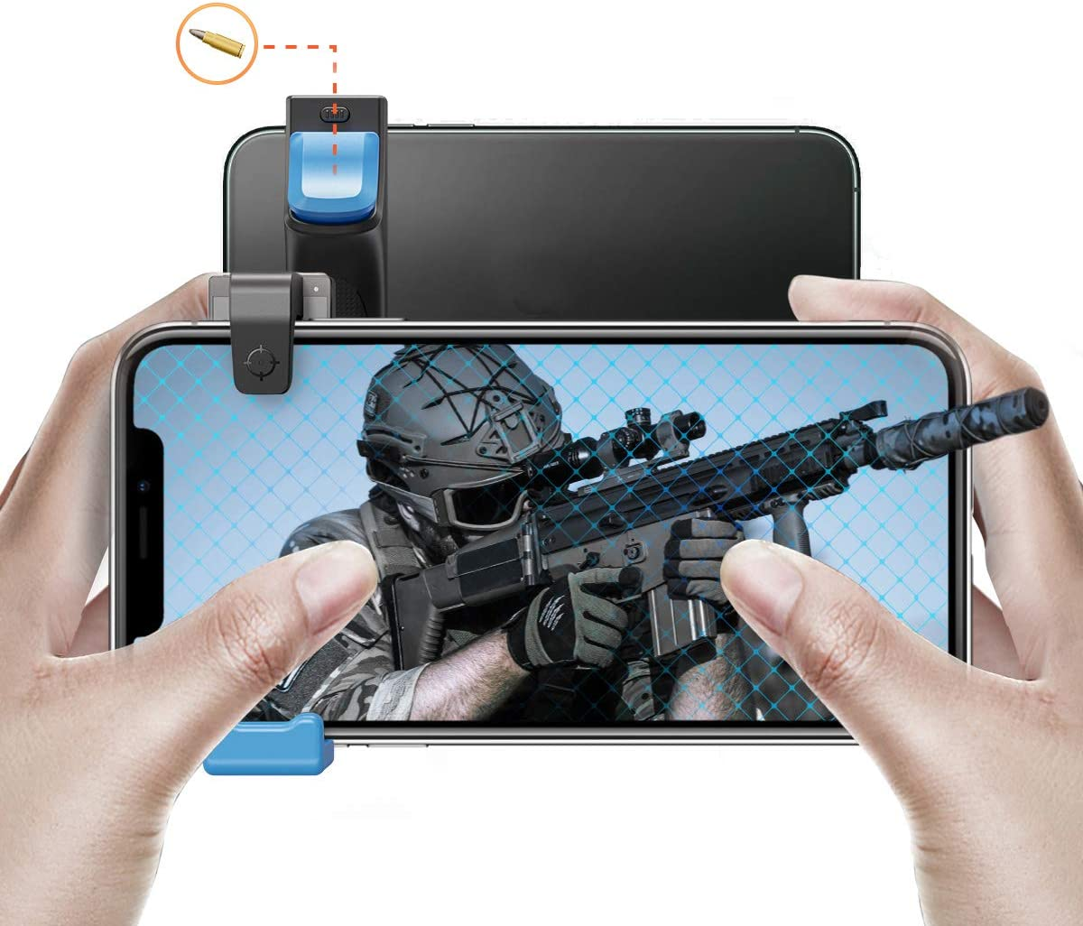 IFYOO MGT108 Mobile Game Controller Gaming Trigger Button Compatible with PUBG Mobile/Fortnitee Mobile/Call of Duty Mobile, Compatible with Android Phone & iPhone - BlueX1pcs