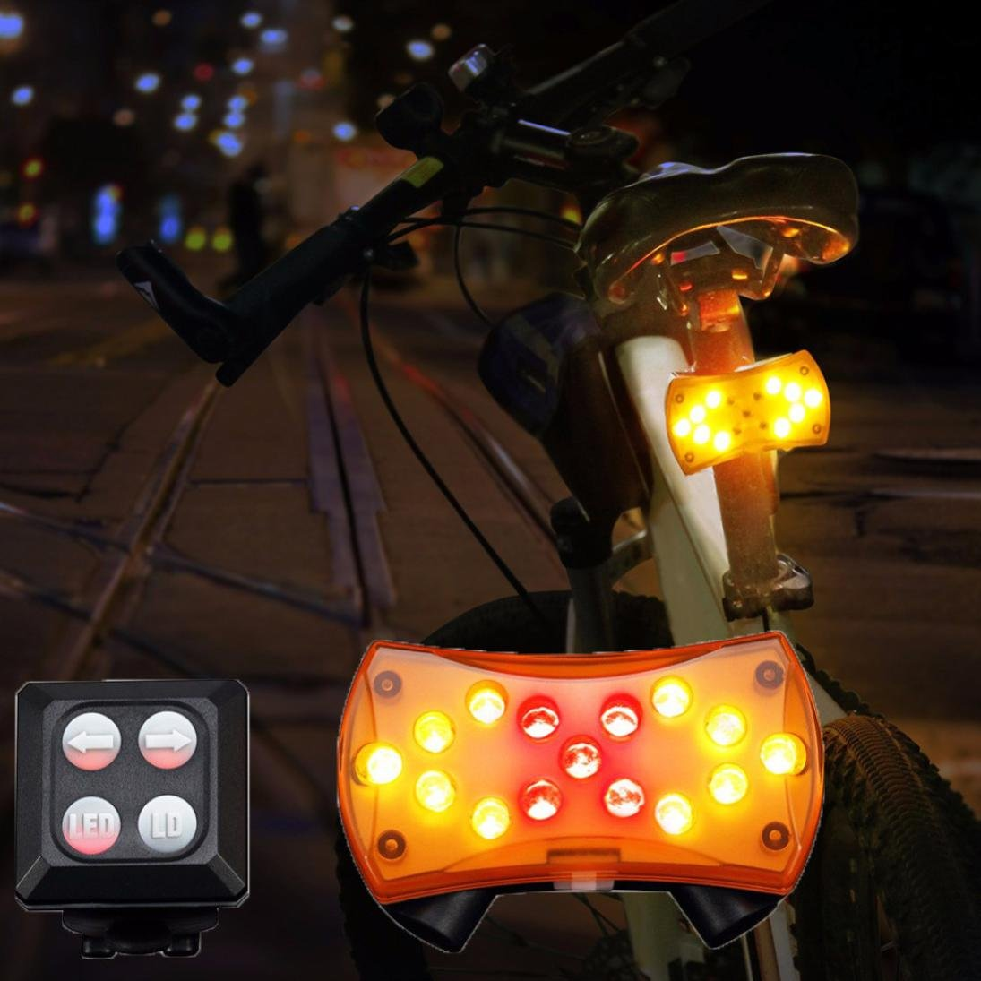 Quaanti Wireless Control Turn Signal Light for Bicycle Turning Bike Light Safety 2018 Remote Control USB Bicycle Lights Yellow Lamp Yellow
