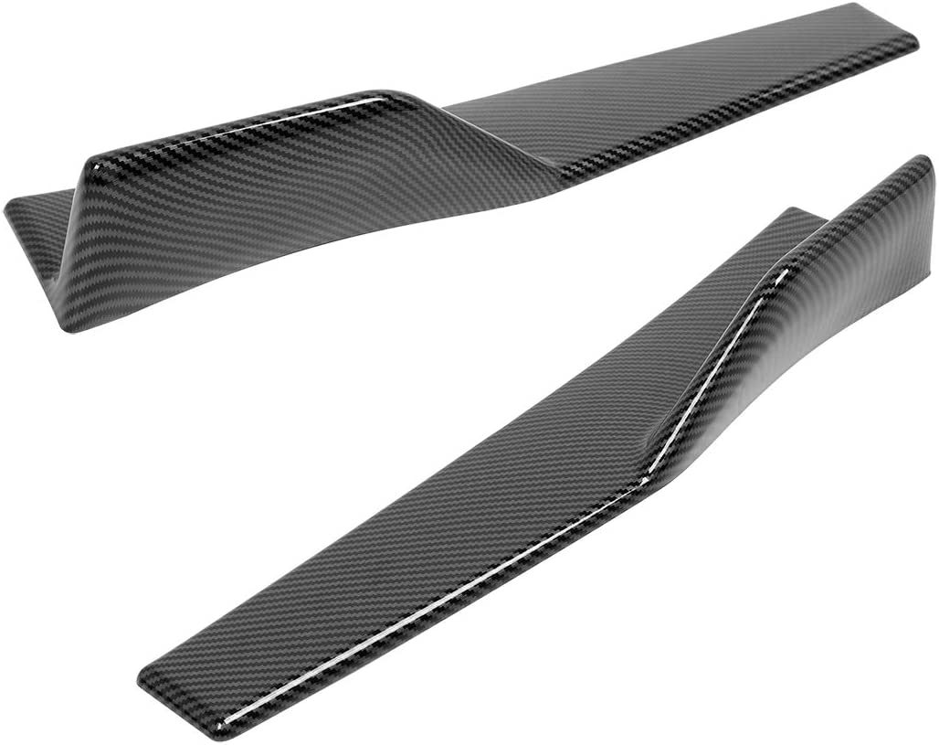 X AUTOHAUX 2pcs 86cm //33.8inch Left and Right Carbon Fiber Pattern PP Universal Rear Side Skirt Winglets Diffusers Compatible with Car Truck SUV