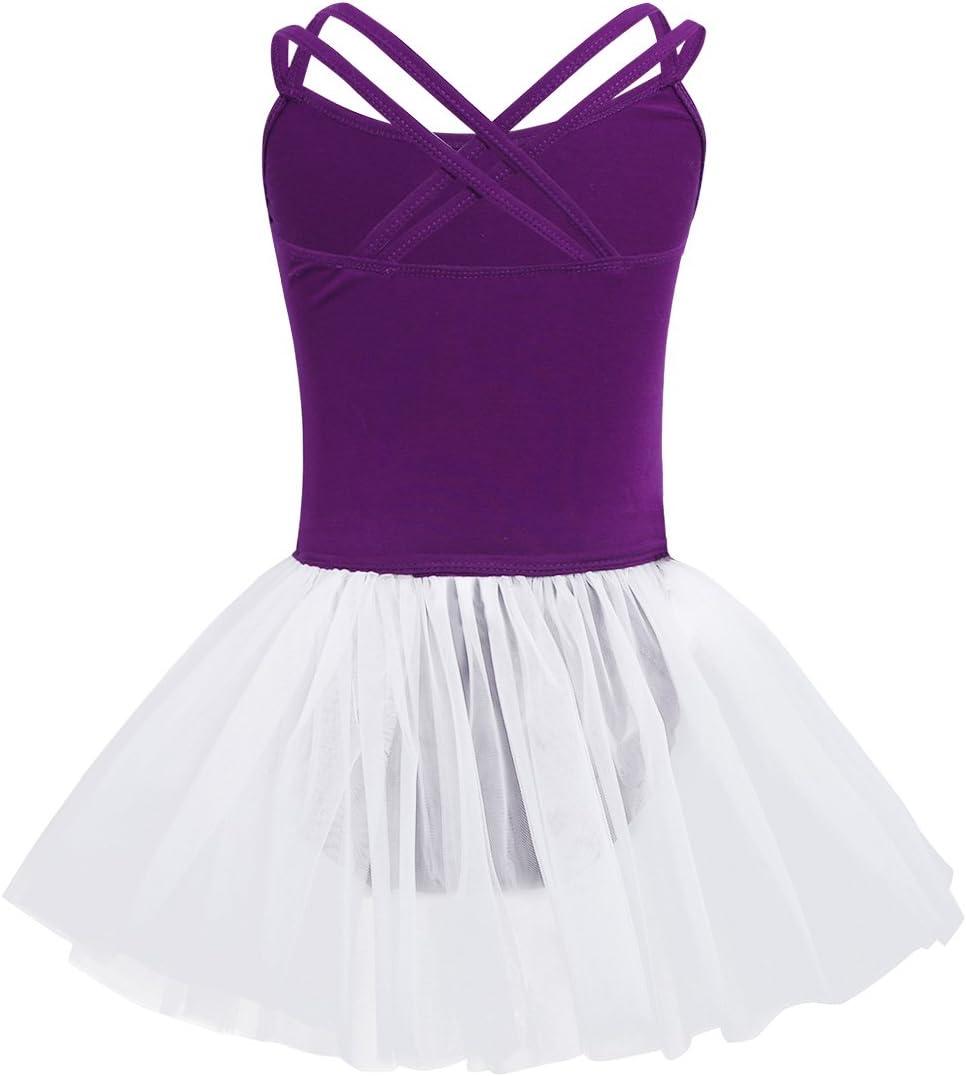iiniim Girls Kids Sleeveless Ballet Tutu Dress Gymnastics Leotard with Chiffon Wrap Skirt Dance Costume