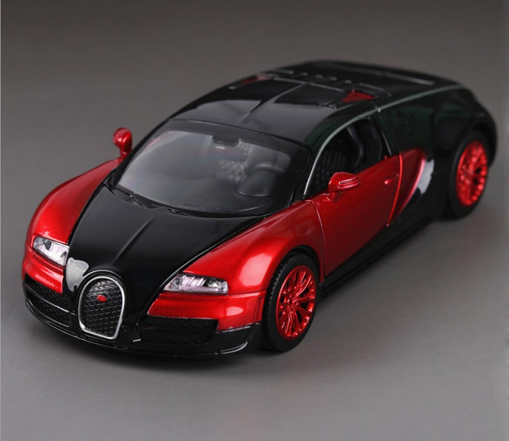 Bugatti Veyron 1:32 Alloy Diecast car model collection light&sound Red with color packaging , Toys for Kids & Child 7color
