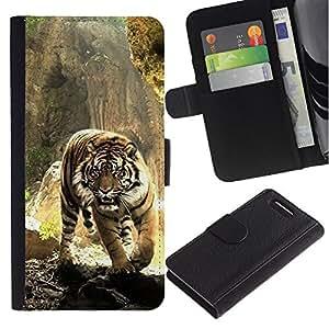 Sony Xperia Z3 Compact / Z3 Mini (Not Z3) - Dibujo PU billetera de cuero Funda Case Caso de la piel de la bolsa protectora Para (Fierce Tiger)