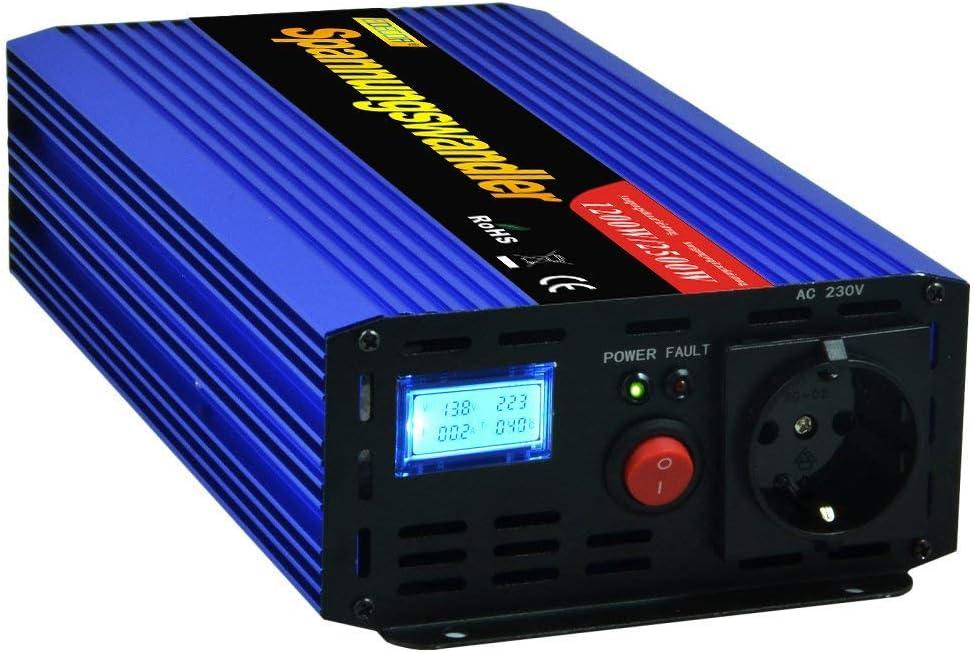 EDECOA inversor 24v 220v Convertidor 1200w de Onda modificada Transformador 24v a 220v para camion con Pantalla LCD convertidor 24v 230v