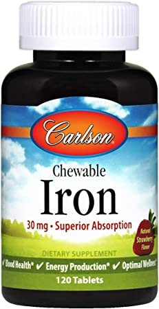 Carlson - Chewable Iron, 30 mg, Superior Absorption, Blood Health, Energy Production & Optimal Wellness, Chewable Iron Supplement for Women & Men, Natural Strawberry Flavor, 120 Tablets