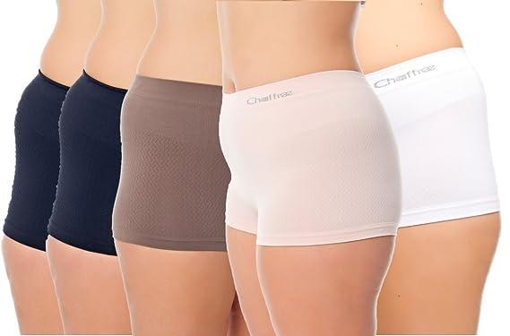 Chaffree Anti Rozaduras - Women Boxers Briefs - 5 Unidades Midi | Multisize pequeñas 2 X L | Ropa Interior Boy Pantalones Cortos de la Mujer: Amazon.es: ...