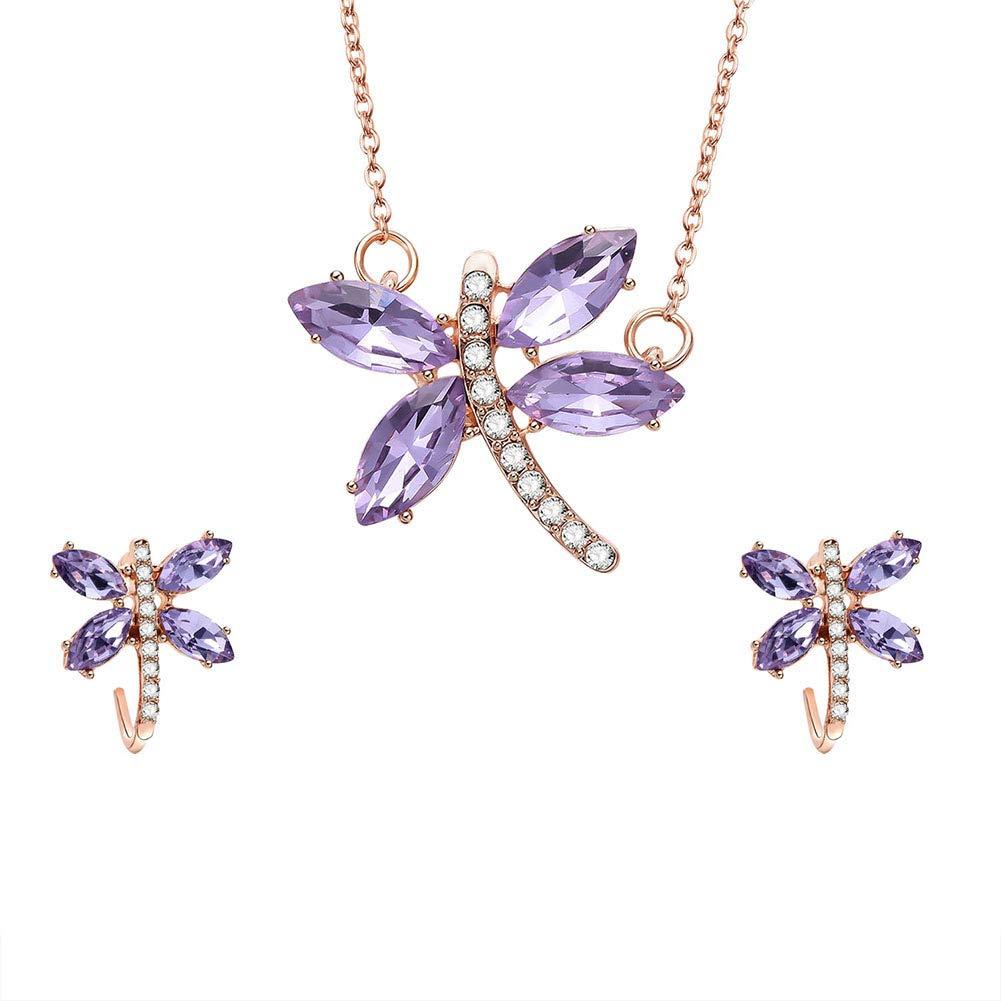 Guoainn ➤✎✎✎Creative Rhinestone Dragonfly Ear Studs Earrings Necklace Women Club Jewelry Set Rose Gold