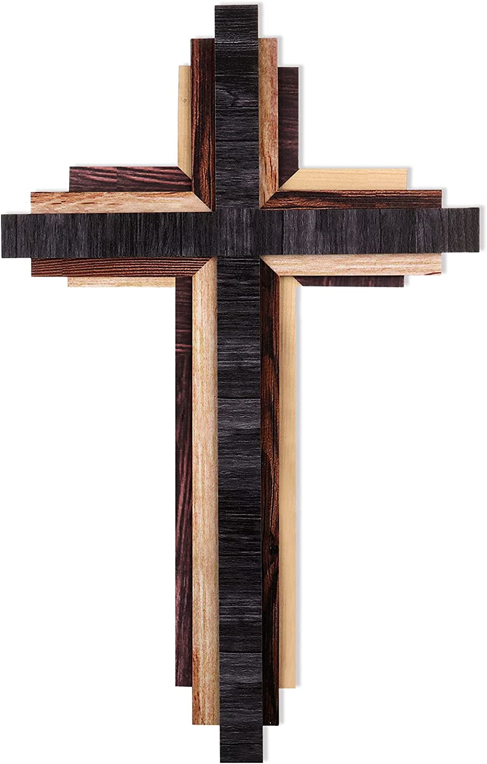 Wooden Wall Cross 3D Multi-Color Wooden Wall Cross Triple Stacked Reclaimed Wood Wall Cross Decorative Worn Wooden Hanging Wall Cross for Wall Home Religious Decoration (Classic Color)