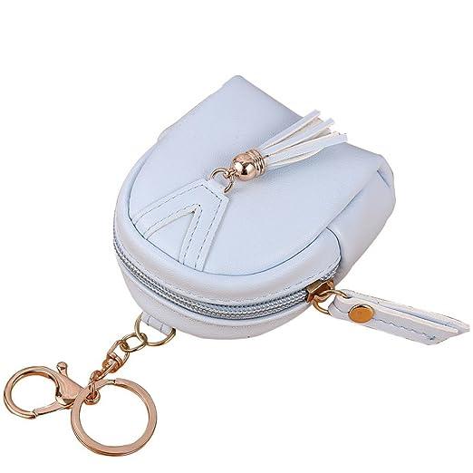 17f47e28b21 Women Tassels Zipper Leather Coin Pouch Mini Key Chain Backpack Bag Card  Purse