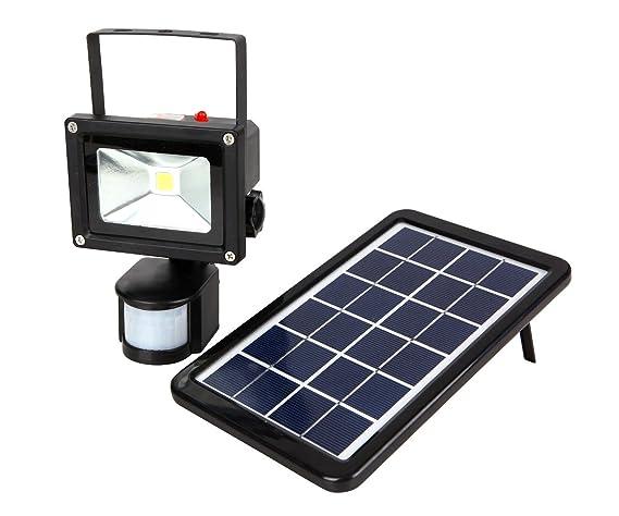 MCTECH® 10W LED con Sensor de Movimiento SMD foco blanco frío Jardín y vía Solar