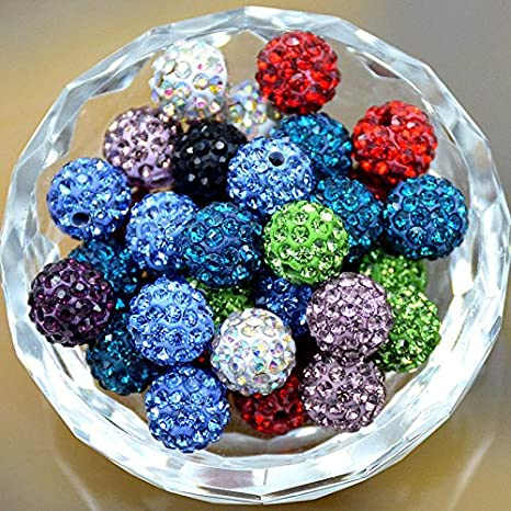 Mixed Quality Czech Crystal Rhinestones Pave Clay Round Disco Ball Spacer Beads