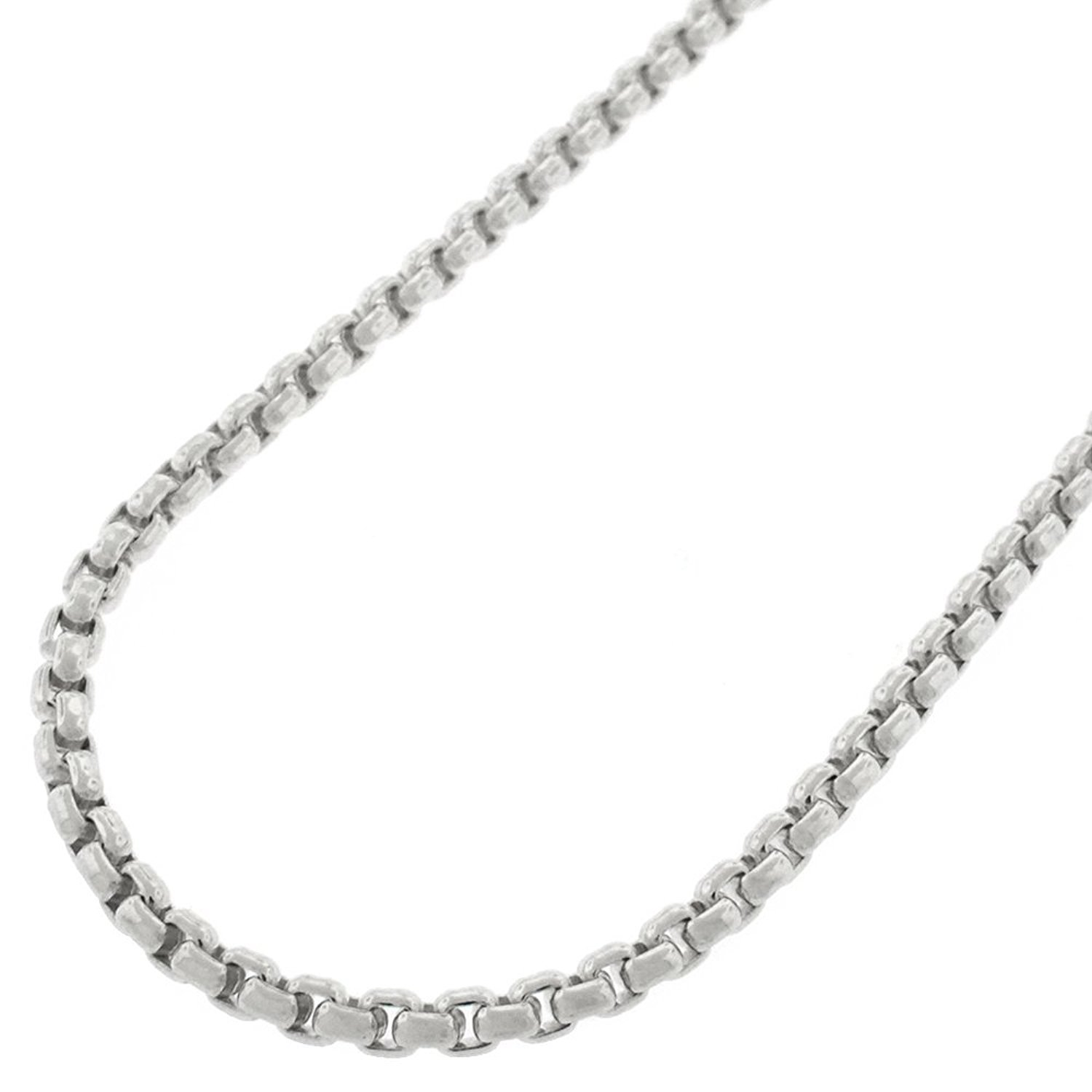 Sterling Silver Italian 2.5mm Round Box Link Solid 925 Rhodium Necklace Chain 18'' - 30'' (24)
