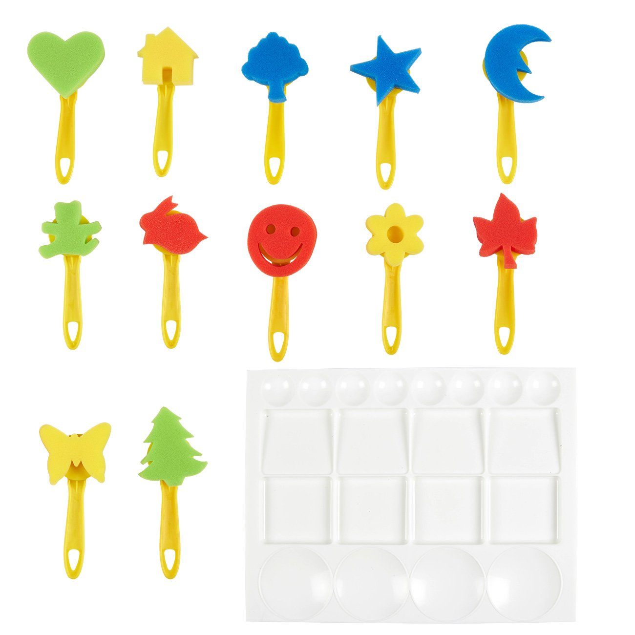 Kids Paint Sponges Set – 13 Piece Painting Stamps with Handle, and 1 Paint Palette, Art and Craft Supplies for Children, Assorted Pattern, Design May Vary, Multicolored Juvale 4336955228
