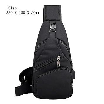 Men Leather Messenger Shoulder Bag Sling Chest Pack Crossbody USB Charging Port