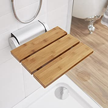 Hudson Reed - Siège de Douche Pliable Assise en Bois - Design Salle de Bain  - Rabattable pour Rangement