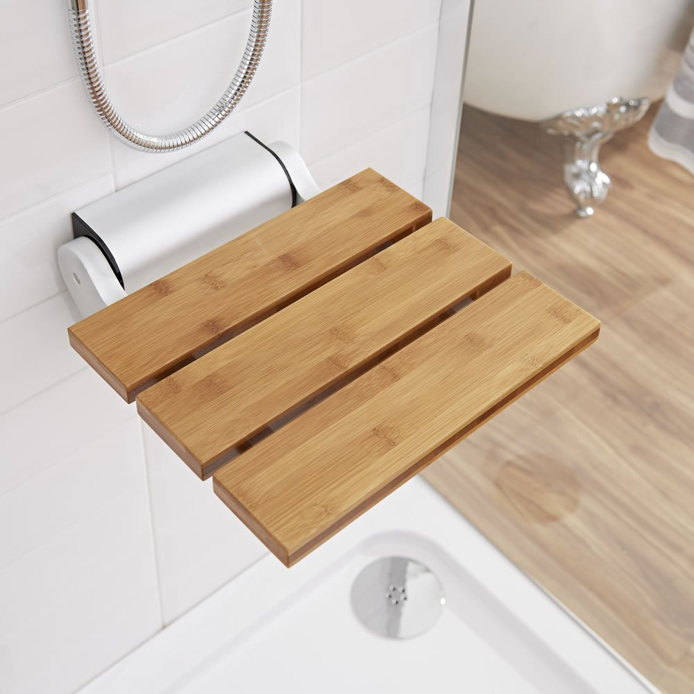 Modem Bamboo Wooden Folding Shower Seat - Chrome Hinges & Narrow Base - Solid Wood Bath Accesory - Wall Mounted - Fold Down Designer Spa Bench