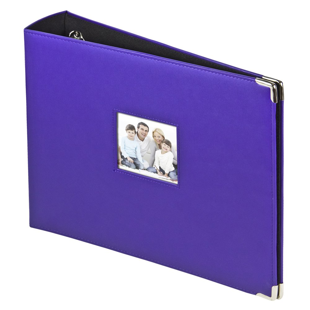 3-Ring Photo Binder Album With Sewn Leatherette Frame, Acid-Free, 12 x 12'' Inserts (Purple)