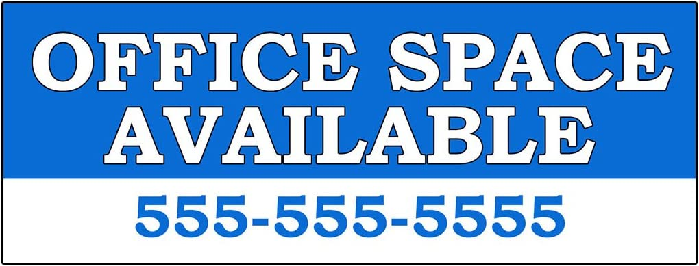 Office Space Available Rent Lease Custom Decal Sticker Retail Store Sign - 9.5 x 24 inches