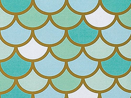 Mermaid Aqua Gold Metallic Gift Wrap Wrapping Paper 15 Foot Roll by Buttons Bags and Bows