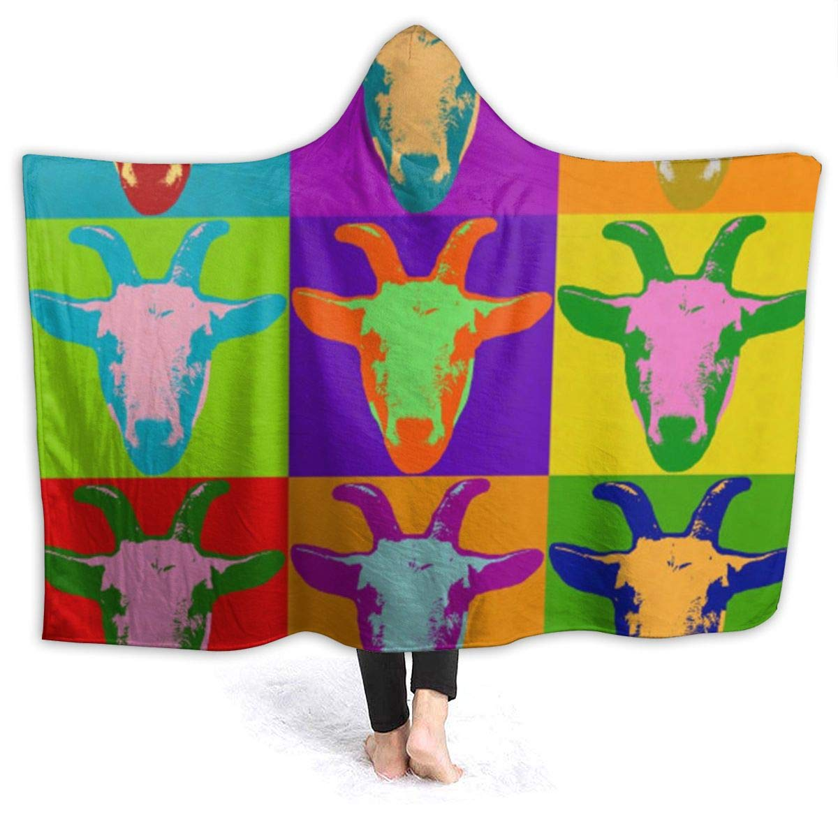 NiYoung 3D Printed Hooded Blanket Soft Blankets for Adults Sherpa Fleece Winter Throw Blanket Hoodie Blanket Colorful Goat Head Travel Cloak, Adult - 60x80 inch by NiYoung