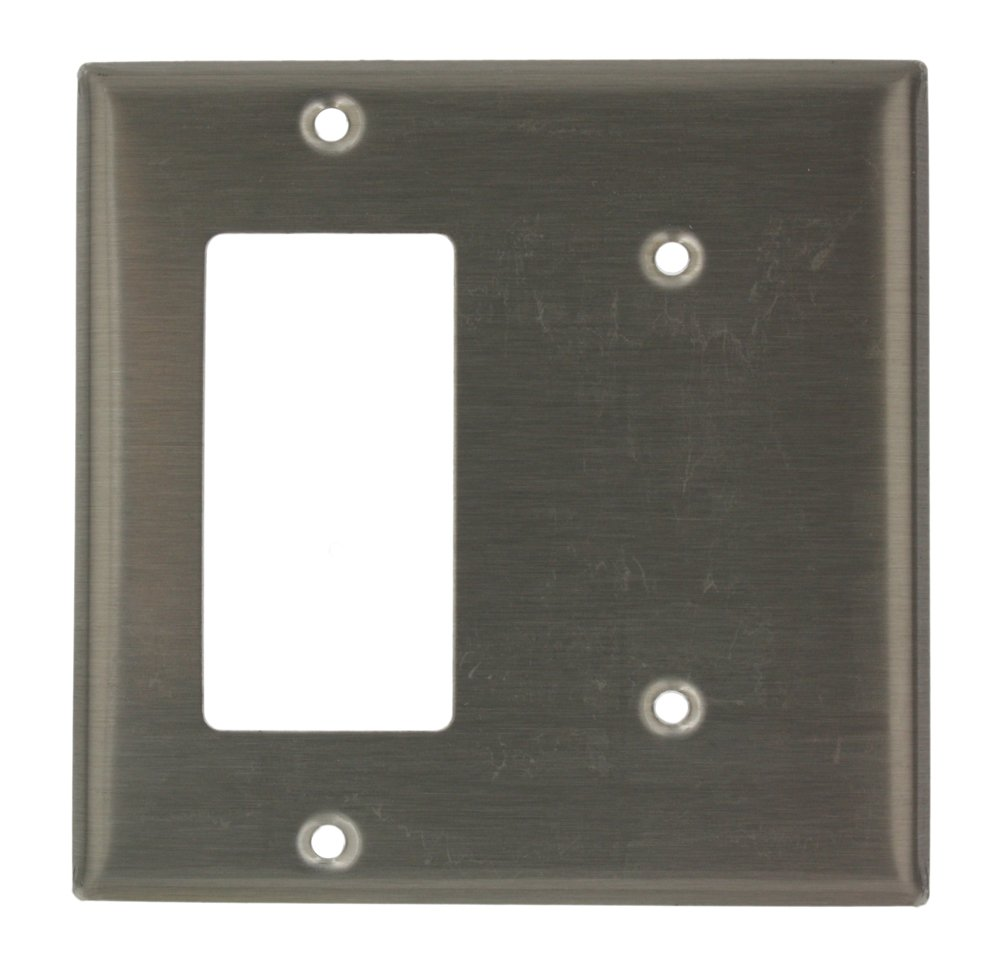 Leviton S1426-N 2-Gang 1-Blank Decora/GFCI Device Combination Wallplate, Stainless Steel