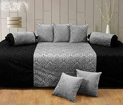 Handtex Home Premium Velvet Diwan Set of 8 Pcs(Content: 1 Single Bed Sheet, 5 Cushion Cover, 2 Bolster, Total - 8 Pcs Set) -Black-Grey