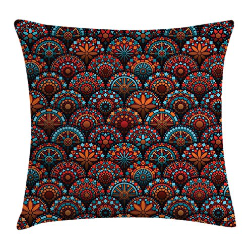 (Ambesonne Mandala Decor Throw Pillow Cushion Cover, Spiritual Pattern with Arabesque and Geometric Floral Forms Image, Decorative Square Accent Pillow Case, 20 X 20 Inches, Scarlet Blue Orange)