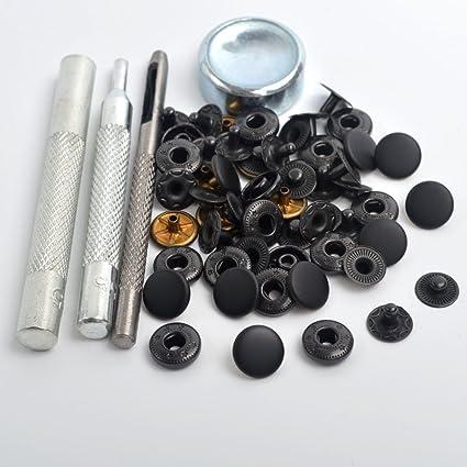 10 Press studs 15mm cap+tool heavy duty snap popper fastener black silver gold