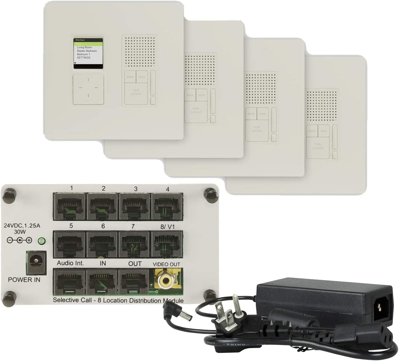 Legrand, Home Office & Theater, Intercom System for Home, Radiant, Light Almond, 4-Room Intercom Kit, IC7400LA