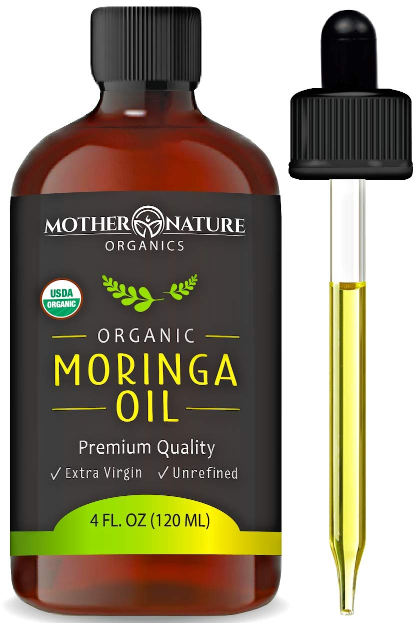 USDA Organic Moringa Oil - Highest Quality, Cold-Pressed, Unrefined, non-GMO - 4 Ounce Glass Bottle with Dropper - For Face, Body, and Hair - Food Grade for Oral Consumption