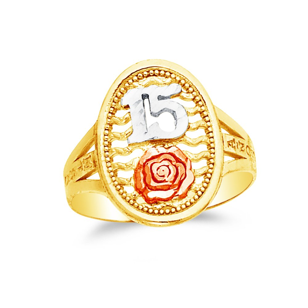 Size Jewel Tie Solid 14k Rose Yellow /& White Gold 15 Years Birthday Flower Ring 4.5