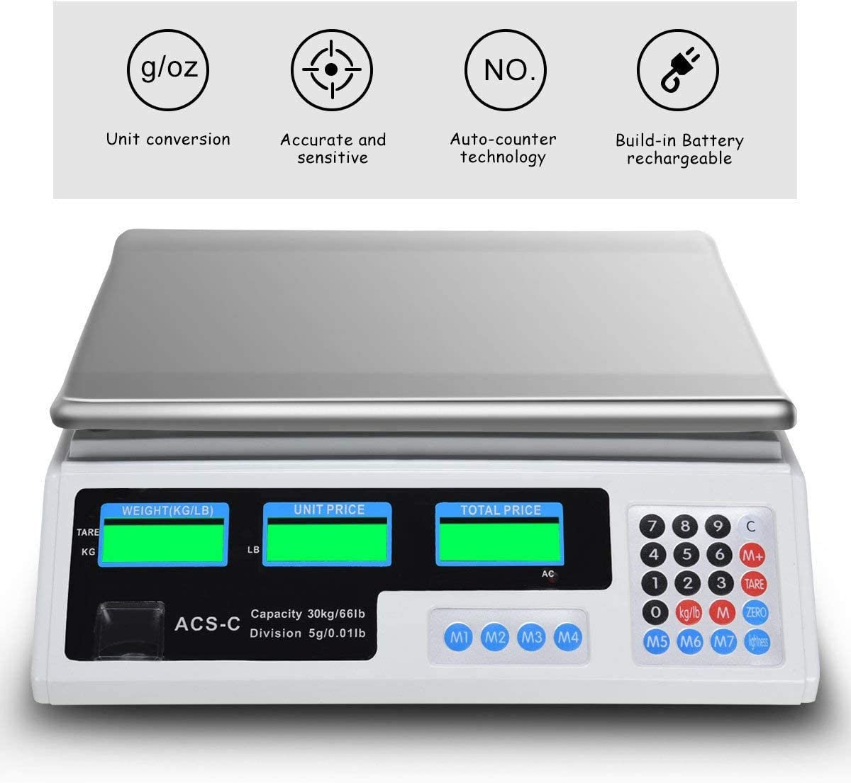 66 LB Digital Scale Price Computing Deli Electronic Counting Weight