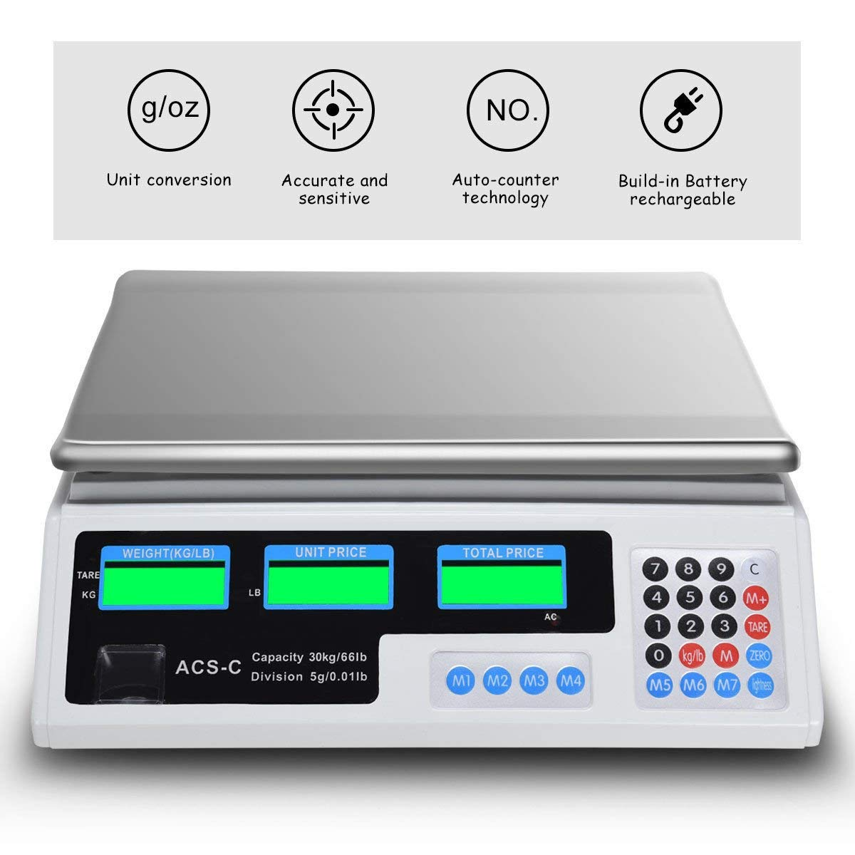 66 LB Digital Scale Price Computing Deli Electronic Counting Weight by Goplus