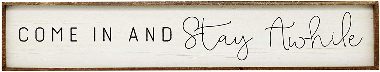 NO/BRAND Large Horizontal Wooden Signs with Sayings-Come in and Stay Awhile,Farmhouse Wood Wall Plaque,59