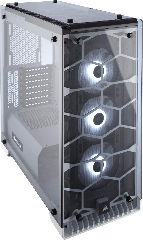 Corsair Crystal 570X RGB Boîtier PC Gaming (Moyenne Tour ATX avec Fenêtre en Verre Trempé avec trois SP120 RGB Ventilateur) Blanc