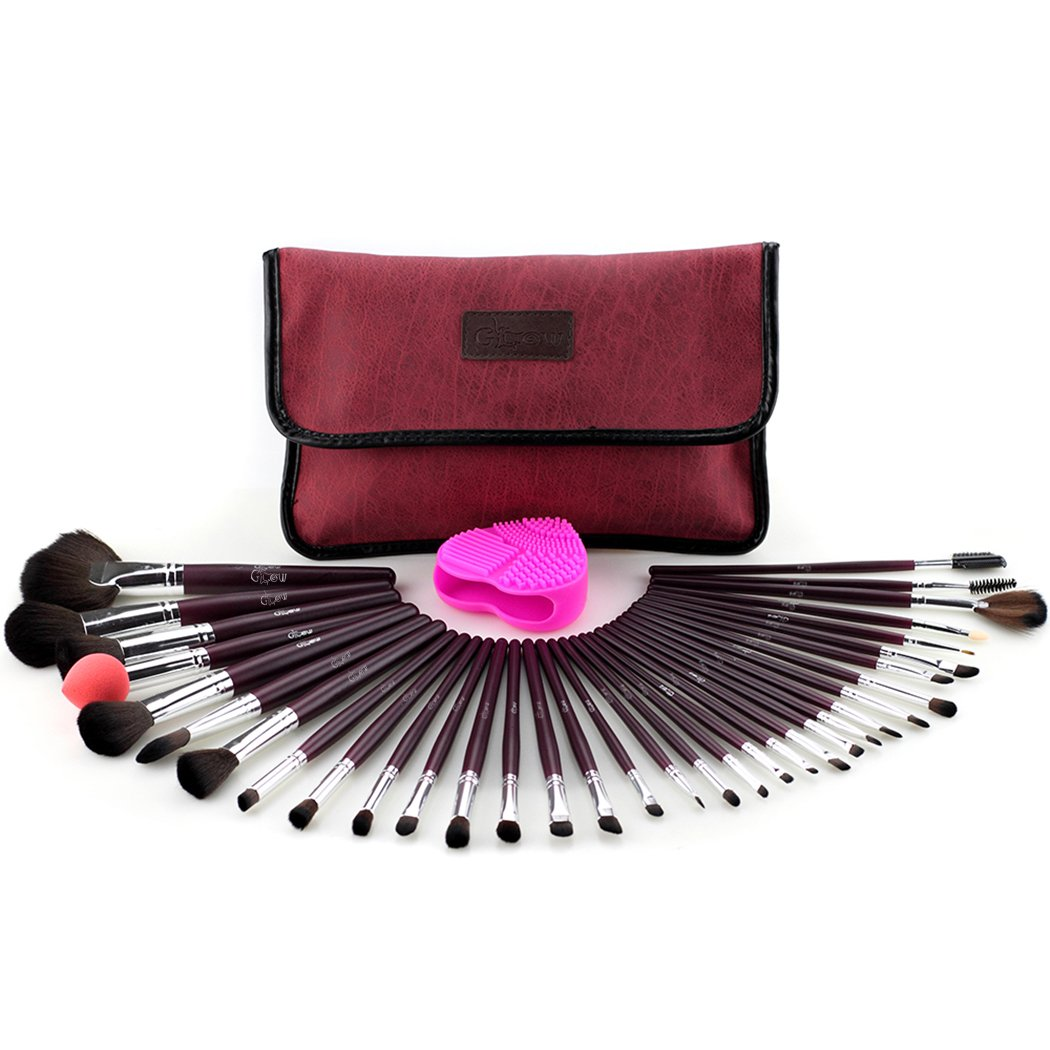 Glow Purple Professional Make-up brush set; contain 34 make up brushes, 1 makeup brushes cleaner/scrubber and 1 makeup brushes bag/makeup brush holder Paragon Enterprise Limited