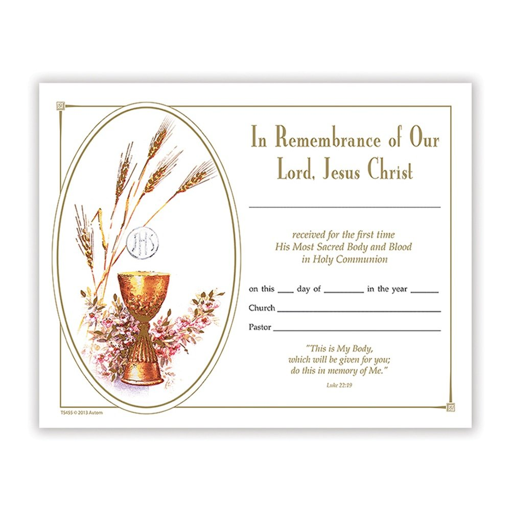 First Holy Communion Keepsake Certificates in English, 100 Pack