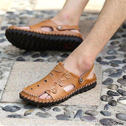eu41 Zapatos Slipper Sandalias Antideslizantes Brown Verano Brown Diapositivas Pull Playa Tamaño Transpirables 43 Nslxie Eu42 A Cerrado De 38 Toe Hombre Cuero On Genuino FxqcSfwd
