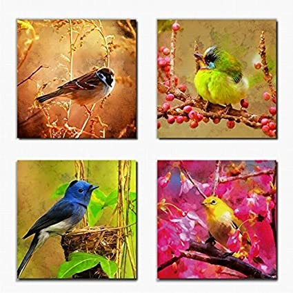 Canvas Prints Wall Art Decor Birds On Trees With Red Flowers Painting Print On Canvas Framed Ready To Hang 4 Panels Modern Wild Bird Oil Paintings