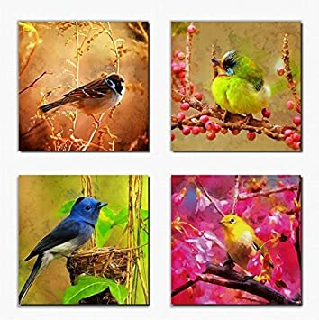 Canvas prints wall art decor birds on trees with red flowers painting print on canvas