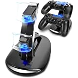 J-KONKY PS4コントローラー専用 充電スタンド コントローラーチャージ 挿すだけ 2台同時に充電対応可 USBケーブル付 ブラック
