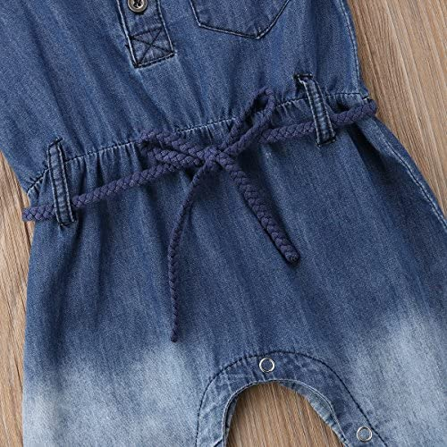67b8fc7adb3 sweetyhouse Infant Toddler Baby Girl Short Sleeve Blue Denim Romper Jumpsuit  with Belt Overalls. Loading images... Back. Double-tap to zoom