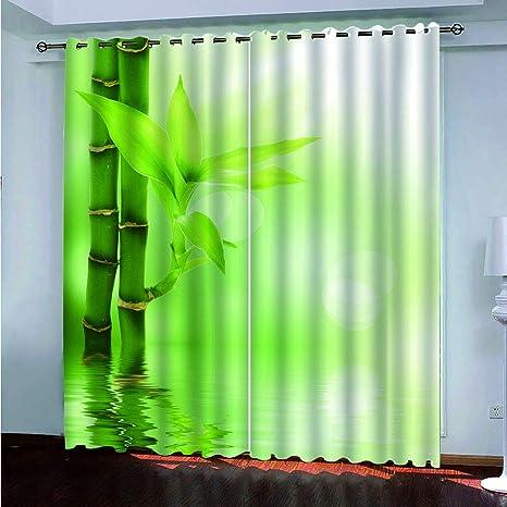 decoración de bambú en la sala de estar Fymmmshop Cortinas Opacas Impresin 3D Verde Bosque De