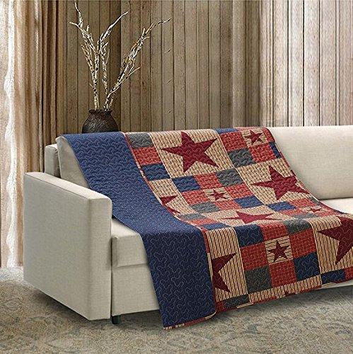 Virah Bella Mountain Cabin Stars Rustic Quilt Blanket (Red, Throw) ()