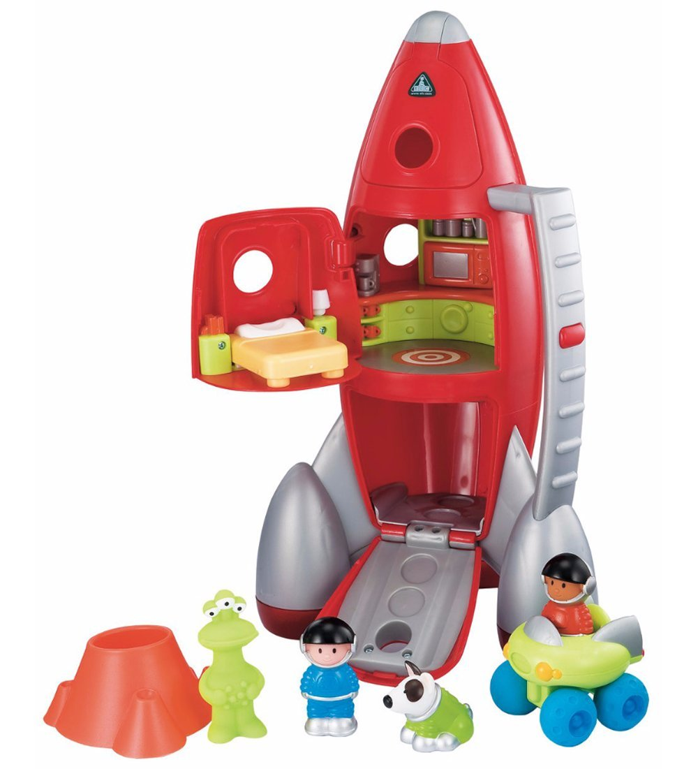 Happyland Lift Off Rocket - With Lights & Sounds - Control Room, Living Quarters & Cargo Hold - 2 Astronauts, Moon Buggy, Alien, Space Dog & Crater