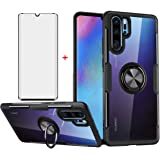 Phone Case for Huawei P30 Pro with Tempered Glass Screen Protector Clear Cover and Magnetic Stand Ring Holder Slim Hard Cell